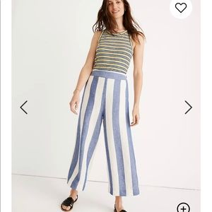 Madewell Huston Pull on Crop Pants in Stripe Sz S